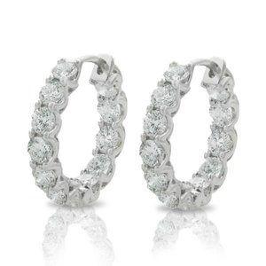 4.80 ct diamonds HOOP earrings sparkling round cut